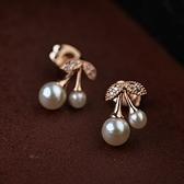 耳環 玫瑰金純銀珍珠-可愛櫻桃生日情人節禮物女耳針73gt180[時尚巴黎]