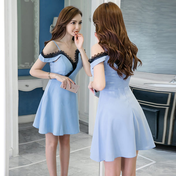 VK精品服飾 韓國風性感蕾絲顯瘦吊帶夜店露肩氣質無袖洋裝