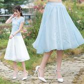 夏裝新品文藝刺繡百搭高腰蓬蓬A字裙純色輕薄顯瘦半身裙