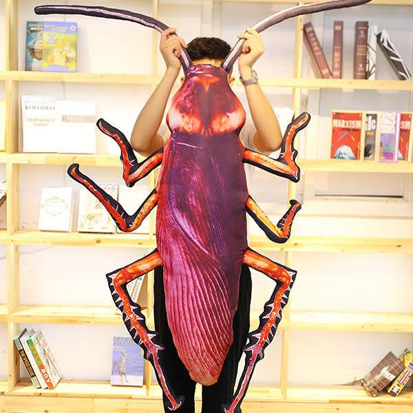 75CM 小強蟑螂公仔 抱枕 細絨毛 蟑螂抱枕 仿真動物抱枕 小強抱枕 布娃娃 玩偶