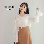 東京著衣-tokicho-甜美綁帶荷葉滾邊縮口雪紡上衣-S.M(181586)