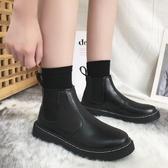 2019新款春秋季英倫風單靴網紅平底帥氣小短靴百搭切爾西馬丁靴女