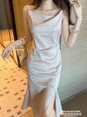 吊帶洋裝 醋酸緞面連身裙女春秋2021年新款修身顯瘦性感外穿開叉露背吊帶裙 萊俐亞