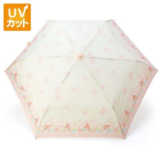 〔小禮堂〕美樂蒂 抗UV折疊雨陽傘《粉米.花朵》折傘.雨傘.雨具 4901610-80720