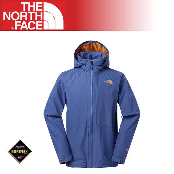 【The North Face 男 Gore-Tex 可套接防水外套 《藍/棕》】2VEC/運動版型/登山/健行/風衣