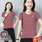 紅黑白條紋圓布繡T恤M~3XL【151344W】【現+預】☆流行前線☆