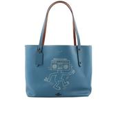 【COACH】Coach x Keith Haring 荔枝牛皮機器人托特包(藍色) CO11000164