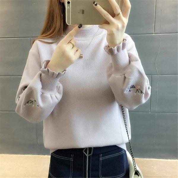 秋冬繡花毛衣女套頭短款學生打底衫寬鬆長袖針織衫上衣春