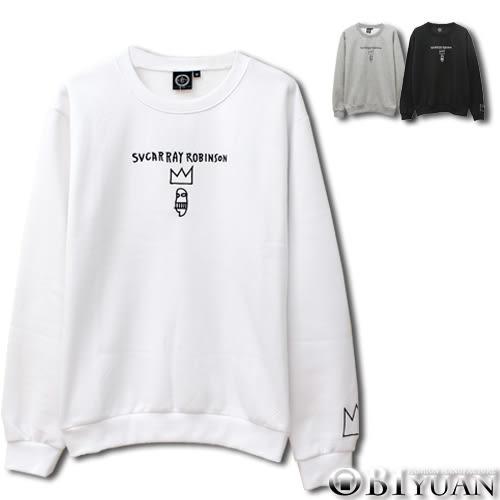 重磅刷毛大學T【JG6851】OBI YUAN韓版皇冠電繡文字長袖上衣 共3色