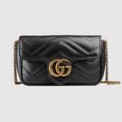 【雪曼國際精品】GUCCI  (476433 DSVRT 1000) GG Marmont matelasse V型絎縫 黑色皮革鍊帶包  ~預購