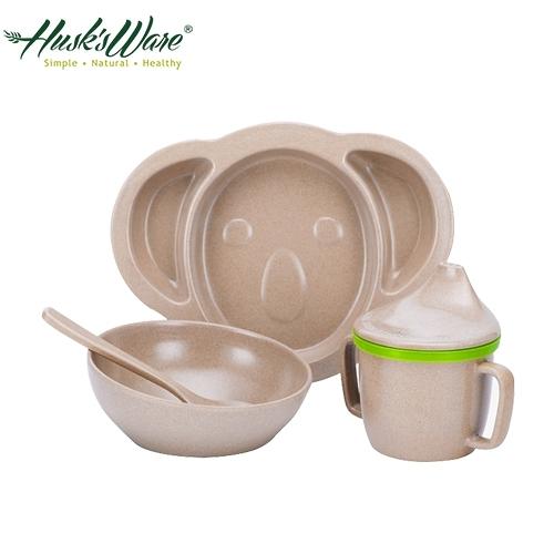 【南紡購物中心】【美國Husk's ware】稻殼天然無毒環保兒童餐具組-無尾熊款