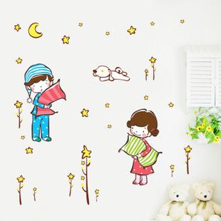 ►壁貼 男孩女孩牆貼三代牆貼紙家裝貼可移除牆貼紙【A3038】