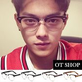 OT SHOP眼鏡框‧中性明星方框復古半框平光眼鏡‧米釘鉚釘裝飾粗膠框‧亮黑/霧黑/茶色‧現貨‧G36