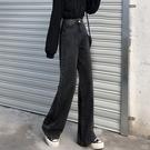 直筒褲 闊腿黑色牛仔褲女秋冬季加絨新款寬松休閑拖地顯瘦高腰垂感直筒褲 交換禮物