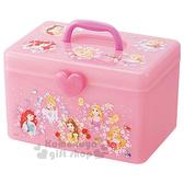 〔小禮堂〕迪士尼 公主 塑膠手提收納箱《粉.花朵.亮粉》工具箱.置物盒.飾品盒 4973307-41363