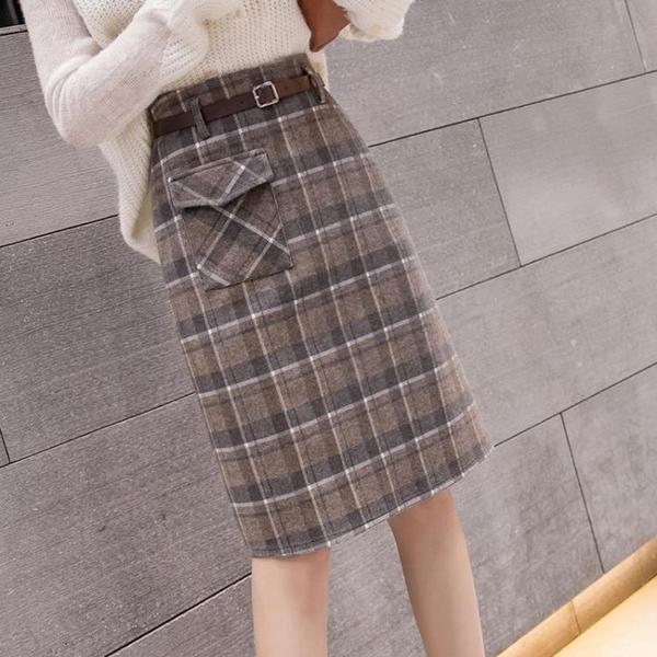 毛呢裙 2021新款修身包臀裙中長款毛呢格子半身裙秋冬女高腰時尚帶口袋裙 歐歐