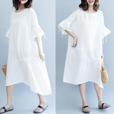 連身裙-荷葉袖純色不規則裙襬寬鬆女洋裝2色73te22[巴黎精品]