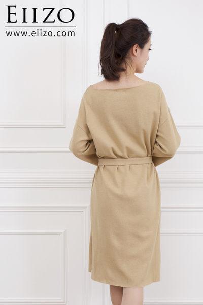 【EIIZO】微一字領棉麻綁帶洋裝(灰)