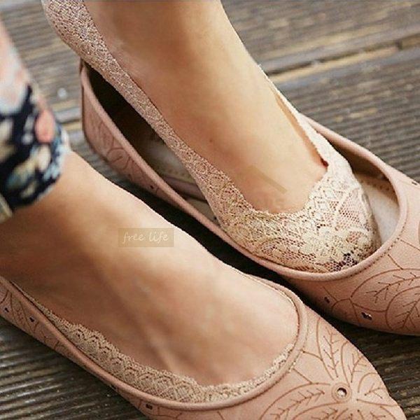 約翰家庭百貨》【VA580】韓版蕾絲花邊隱形襪 夏輕薄透氣防滑船襪 女襪 豆豆鞋船型鞋淺口鞋 5色