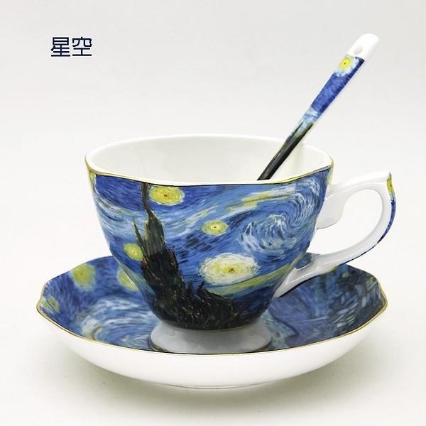 梵谷咖啡杯組(杯+碟+勺)-紙盒包裝 45%骨瓷粉