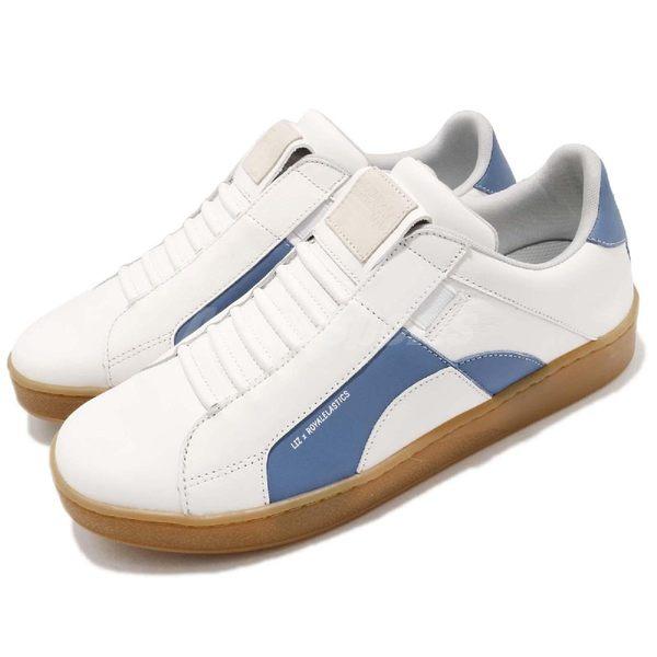Royal Elastics 休閒鞋 Icon 白 藍 高質感皮革鞋面 無鞋帶設計 橡膠大底 男鞋【PUMP306】 02983005