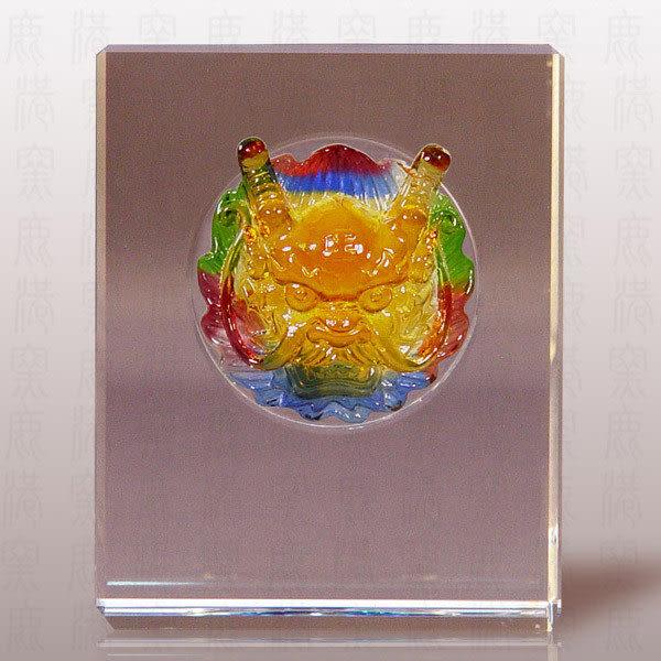 鹿港窯~居家開運M水晶鑲琉璃~威武神龍◆附精美包裝◆附古法制作珍藏保證卡◆免運費送到家