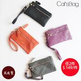 雙層真皮短夾式手拿包-Catsbag-B80516