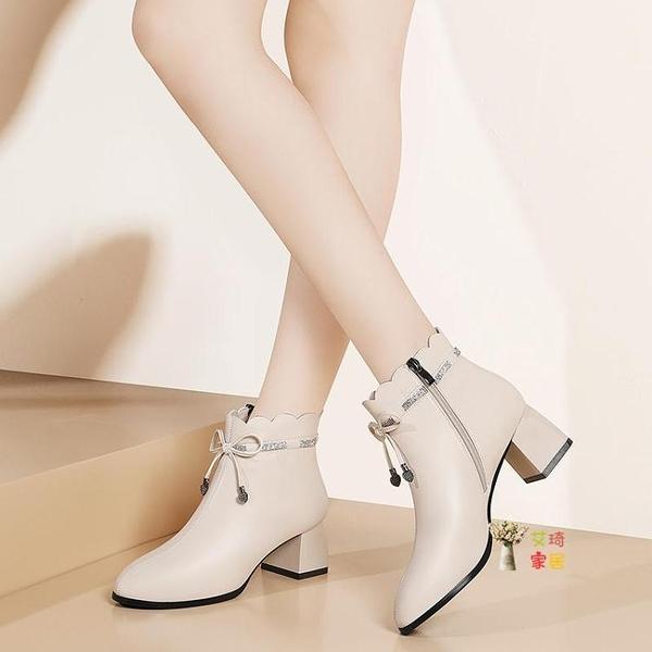 尖頭短靴 皮質短靴女冬季新款粗跟防滑中跟刷毛短筒英倫風馬丁靴