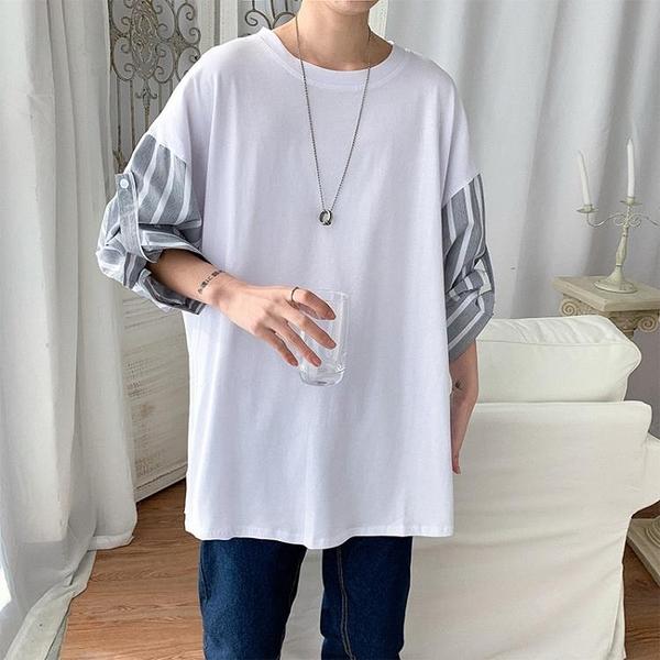 日系超火7七分袖男網紅寬鬆短袖t恤青少年港風潮流休閒條紋半截袖 果果輕時尚