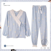 和服款睡衣女春秋寬鬆長袖純棉可外穿家居服兩件套裝【小酒窩服飾】