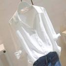 長款上衣 大碼女中長款寬鬆白襯衫女五分袖襯衣顯瘦遮肚上衣上衣-Ballet朵朵