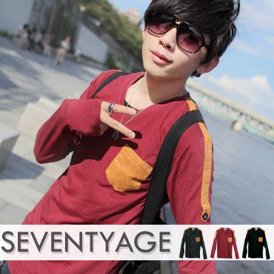 ∥柒零年代∥Awesome【N7615J】韓系秋季新裝簡約肩部口袋麂皮拼接腰身V領長袖上衣(LE6270)