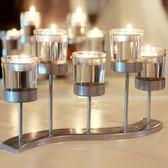 美式歐式鐵藝玻璃蠟燭台燭光晚餐少女心浪漫婚慶酒吧餐廳創意擺件