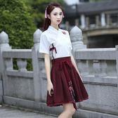 改良漢服女夏日常短袖招財貓漢服繡花交領短裙古裝漢元素學生套裝