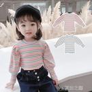 女童上衣T恤 女童長袖T恤裝內搭小童條紋純棉兒童寶寶打底衫t上衣 快速出货