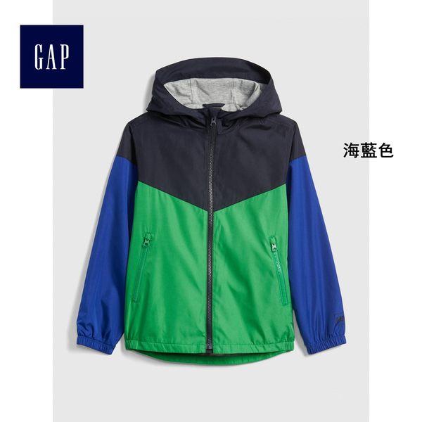 Gap男童 針織襯裡拼色防風長袖外套 402580-海藍色