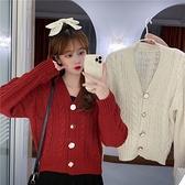 出清288 韓國風針織毛衣新款不規則扣百搭短款長袖上衣