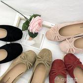 現貨出清新款方頭豆豆鞋女鞋淺口平底鞋樂福鞋蝴蝶結單鞋懶人鞋女 9-4