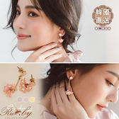 耳環 韓國直送立體花朵珍珠垂墜耳環-Ruby s 露比午茶