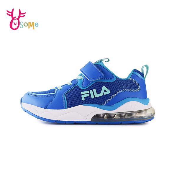 FILA童鞋 男童運動鞋 氣墊鞋 慢跑鞋 運動鞋 跑步鞋 魔鬼氈運動鞋 大童 康特杯 R7678#藍色◆奧森