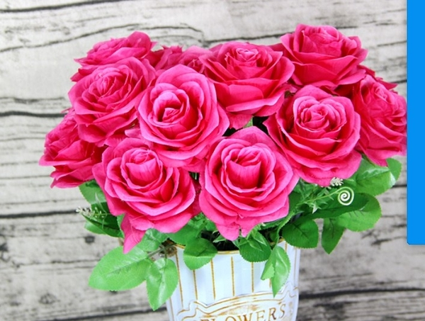 人造 9頭大玫瑰花束 仿真玫瑰 假玫瑰花☆插花.居家.店面.櫥窗.玄關.大廳擺飾.園藝☆