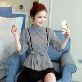 格子襯衫女七分袖上衣服秋裝韓范燈籠袖顯瘦收腰設計感潮 巴黎時尚
