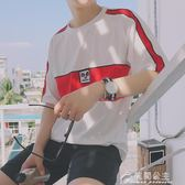 夏季新款原宿風bf寬鬆5五分短袖T恤男韓版潮流學生上衣服花間公主