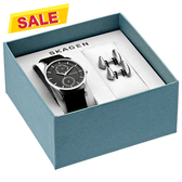 SKAGEN Holst 城市日曆時尚男套錶組-黑/40mm SKW1066