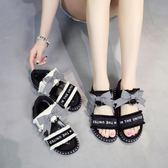 夏季韓版新款休閒平底百搭羅馬涼鞋子女式學生鬆糕厚底露趾沙灘鞋 摩可美家