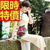長旗袍-復古長款斜門襟修身唐裝女連衣裙64ae26【時尚巴黎】