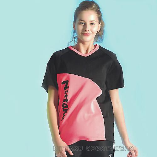 【日本名牌 Nittaku】男女運動休閒吸濕排汗短T恤-黑粉#3775