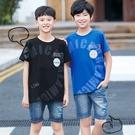 藍 大童 霧感字母透氣藍色短T 春夏童裝 男童棉T 男童上衣 男童短袖 男童T恤