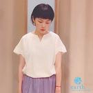 「Summer」特色袖V領剪裁短袖T恤 - earth mu