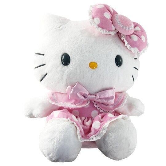 小禮堂 Hello Kitty 12吋絨毛玩偶 絨毛娃娃 中型玩偶 布偶 (粉點點洋裝) 0840805-13752